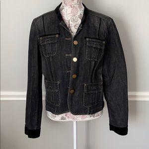 DKNY Jeans Black Denim Coat Velvet Trim XL